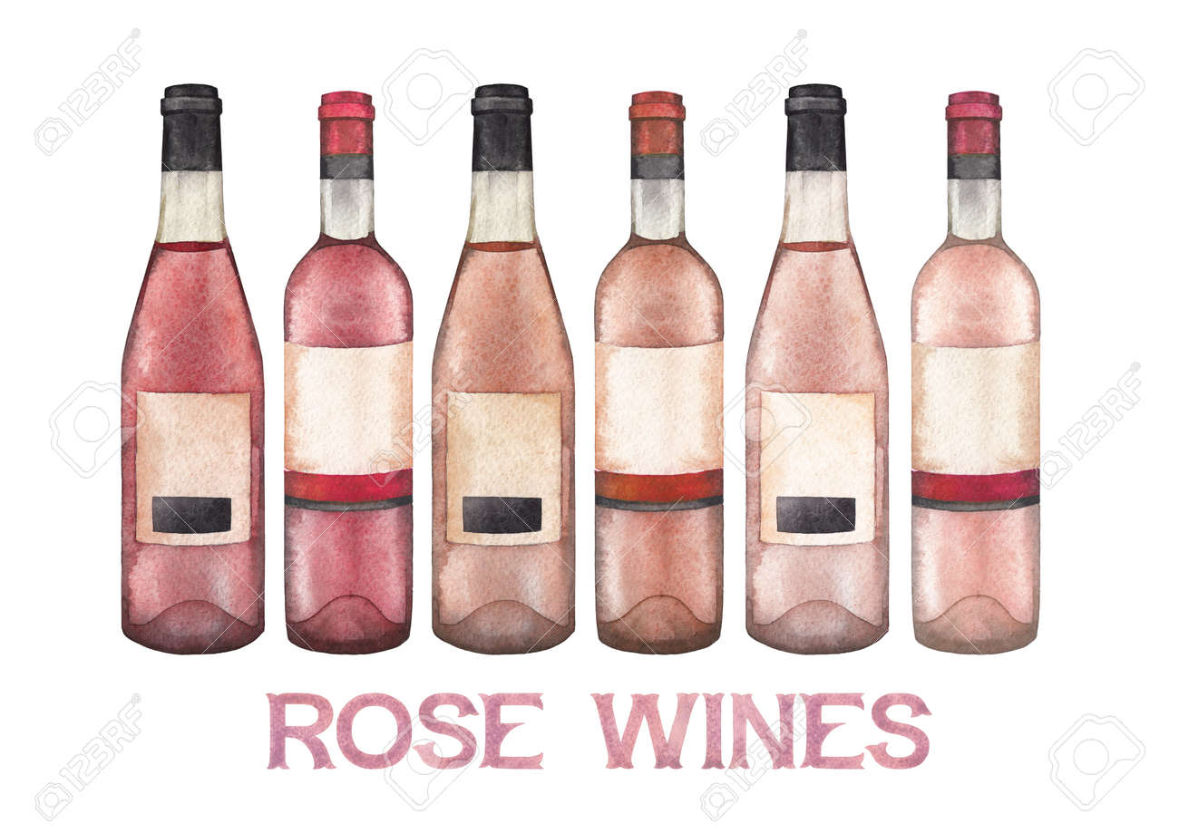 Watercolor Collection Of Different Rose Wine Bottles Stock Photo Picture And Royalty Free Image 108424946