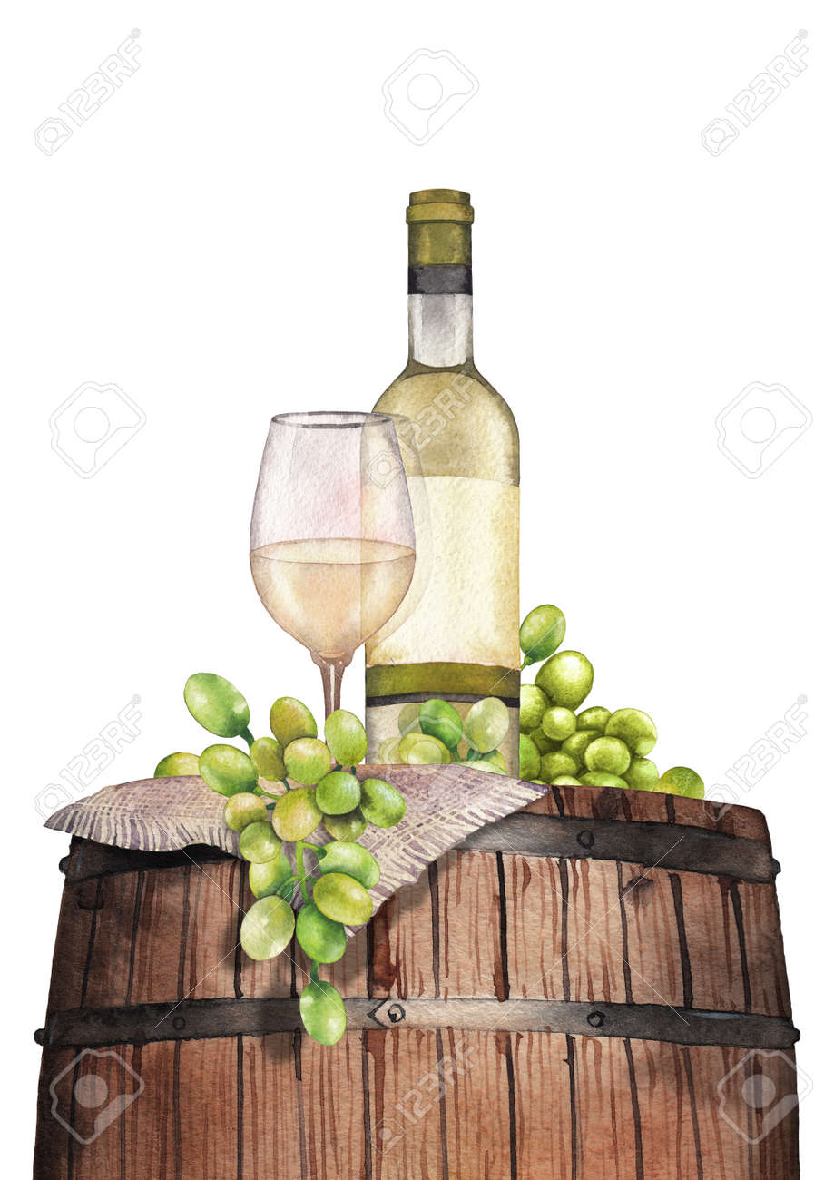Watercolor Glass Of White Wine Bottle And Grapes On The Wooden Stock Photo Picture Royalty Free Image 110770911