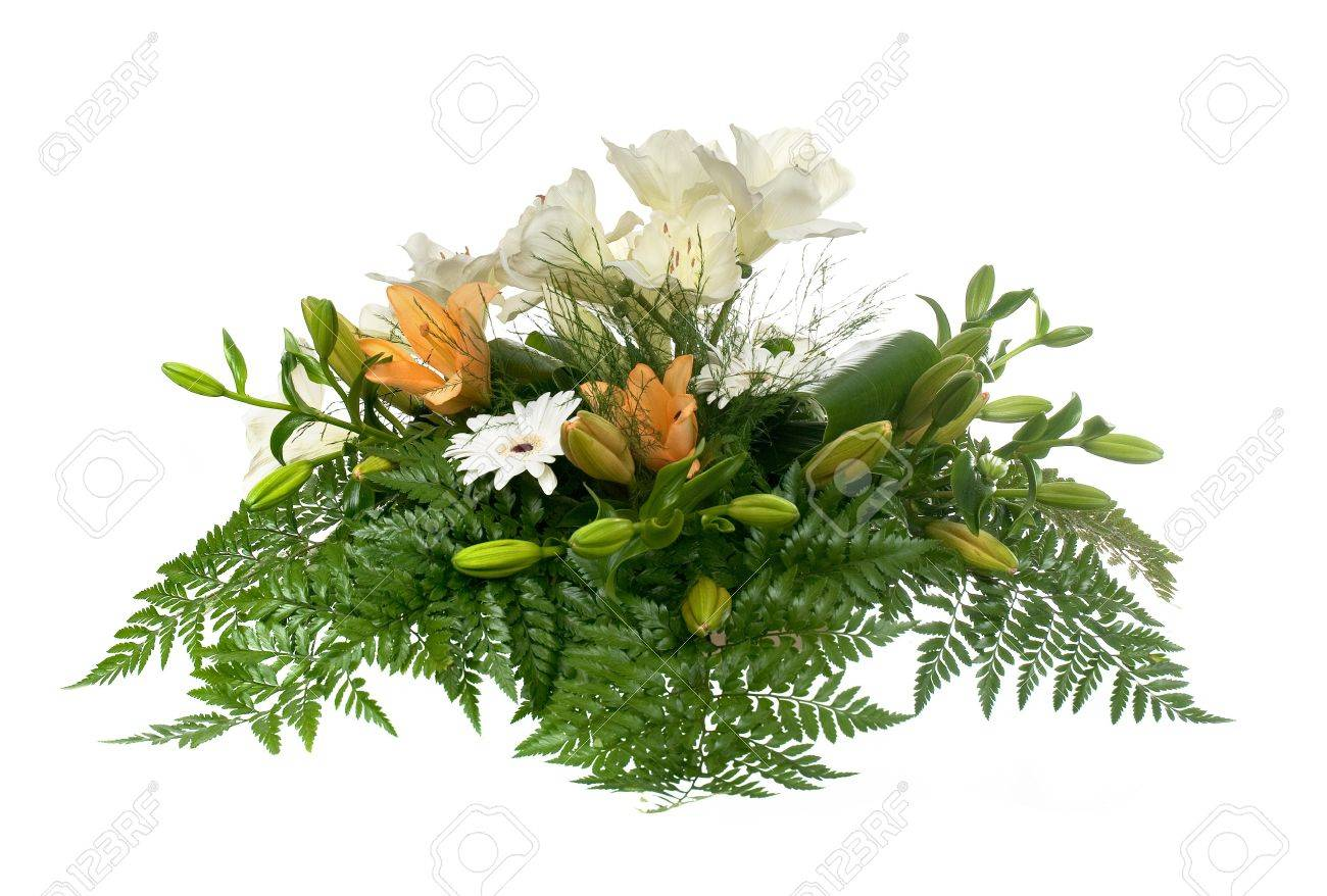 Beautiful flower arrangement with yellow lilies isolated on white background. Stock Photo - 7971707