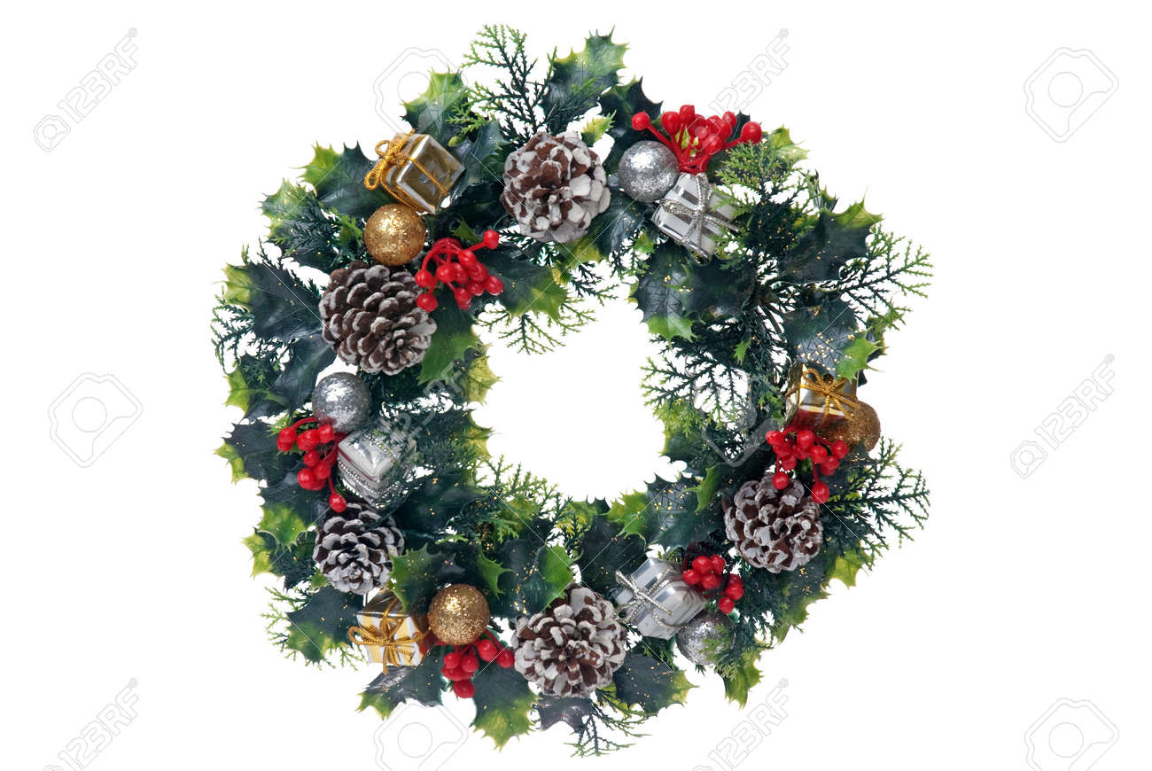 Christmas Door Garland Isolated On White Isolated Background Stock