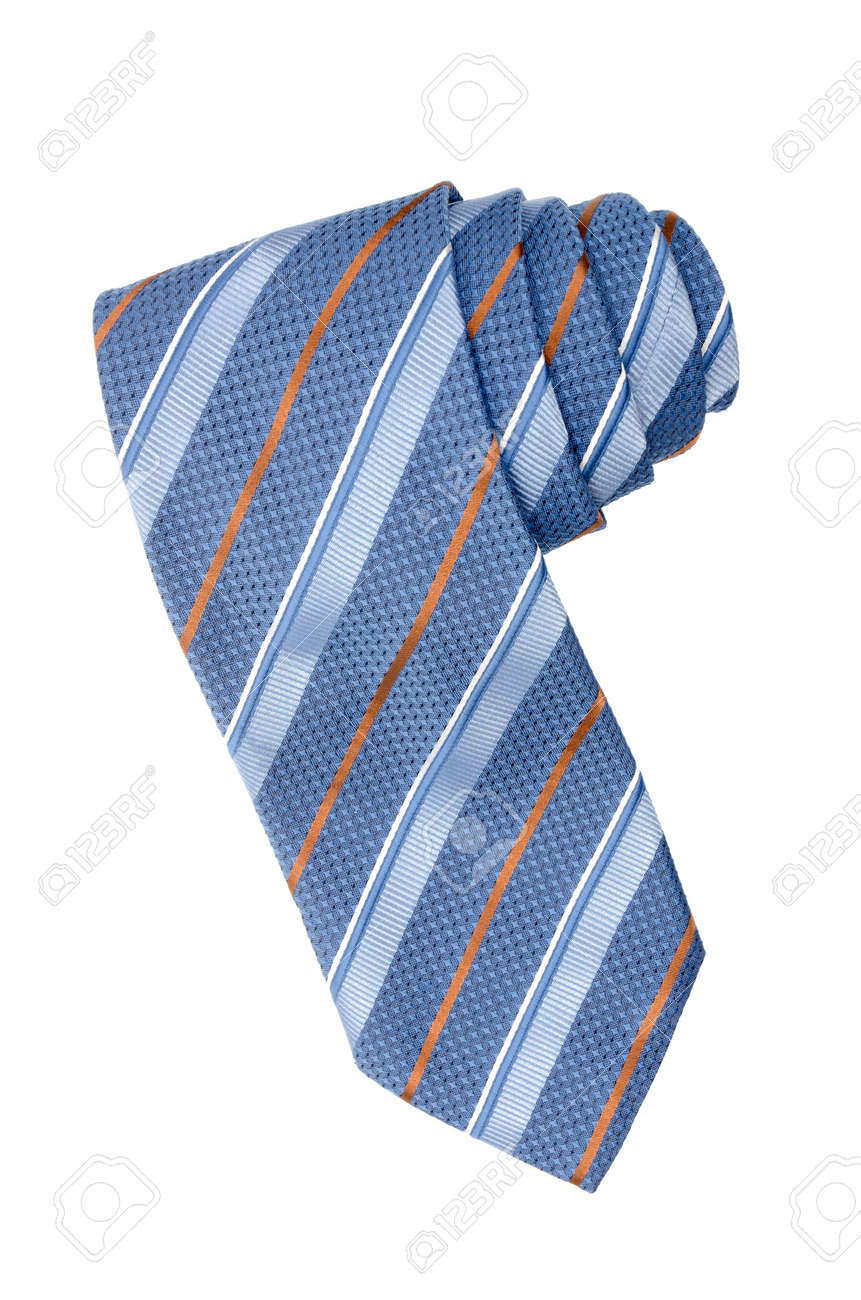 Striped blue, white and orange tie isolated on white background. Stock Photo - 9523186