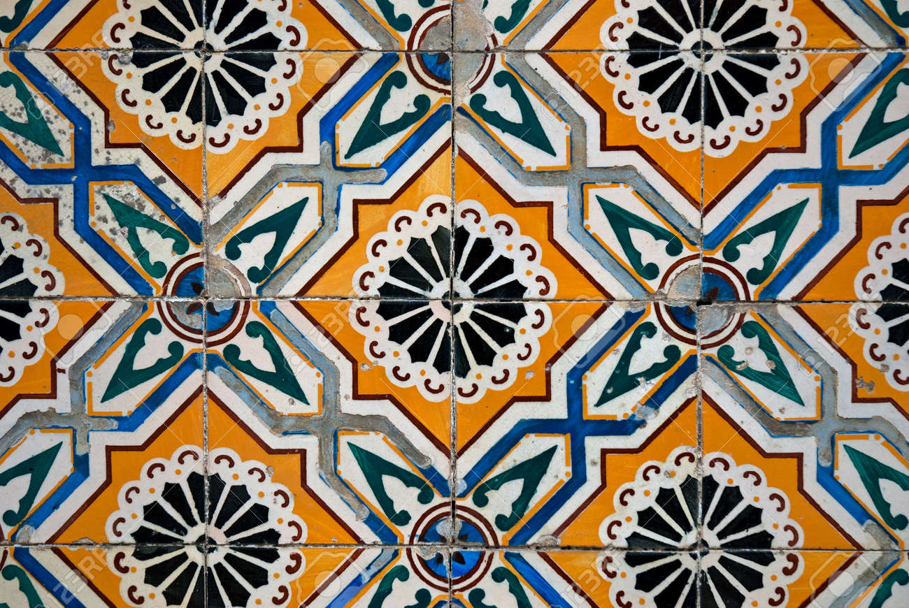 Colorful Vintage Spanish Style Ceramic Tiles Wall Decoration. Stock Photo    9787032
