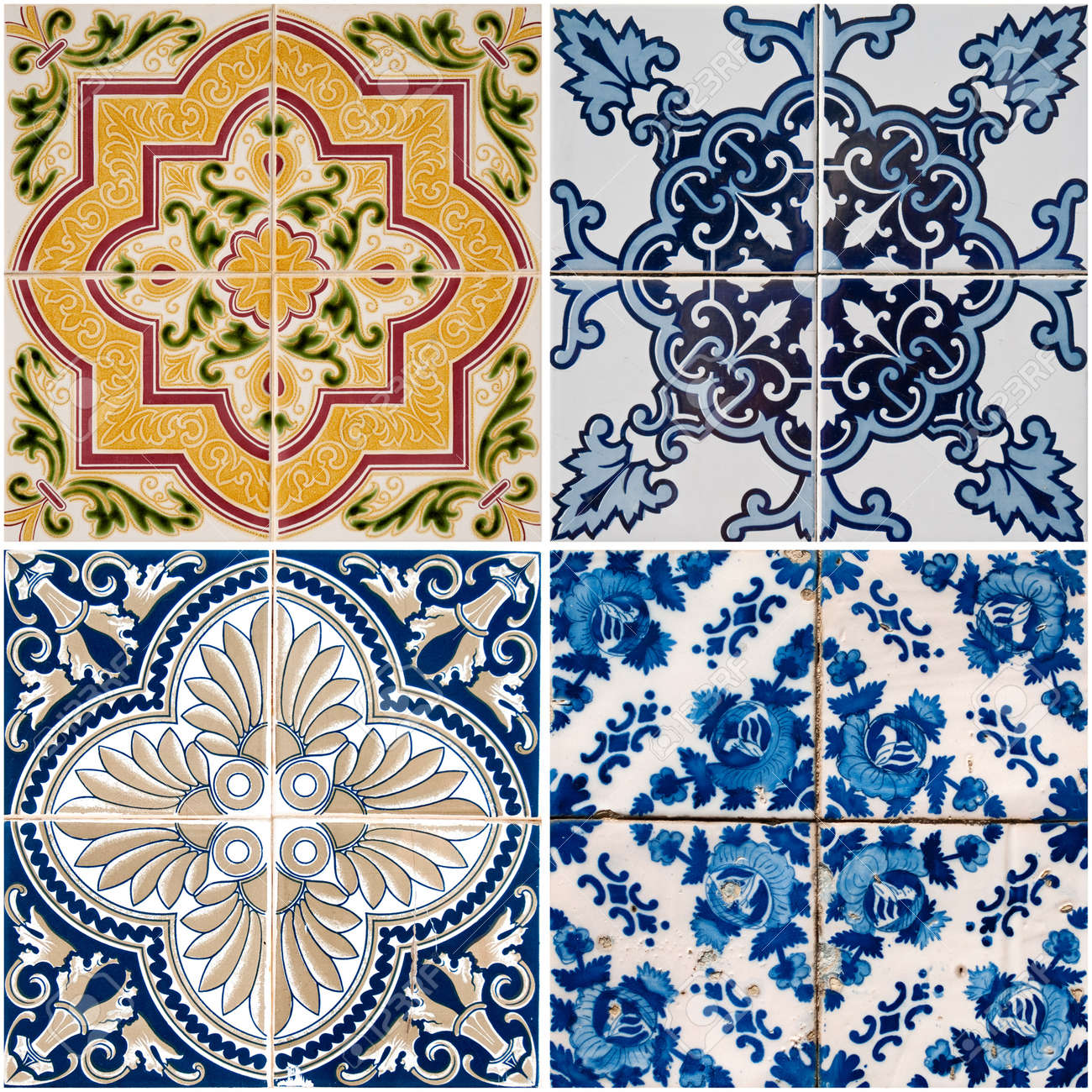 Colorful Vintage Ceramic Tiles Wall Decoration Stock Photo