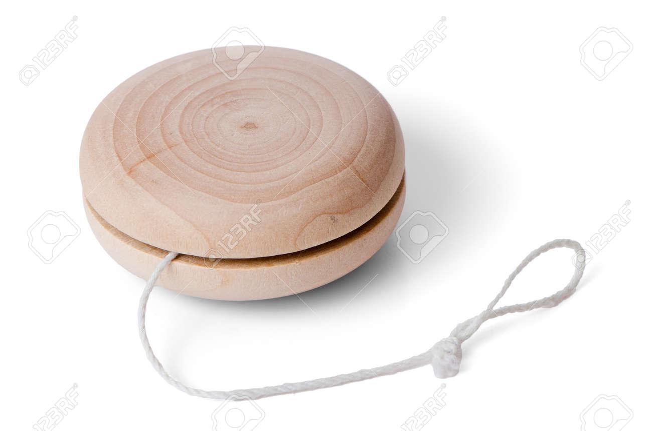 wooden yo-yo toy isolated on white background.