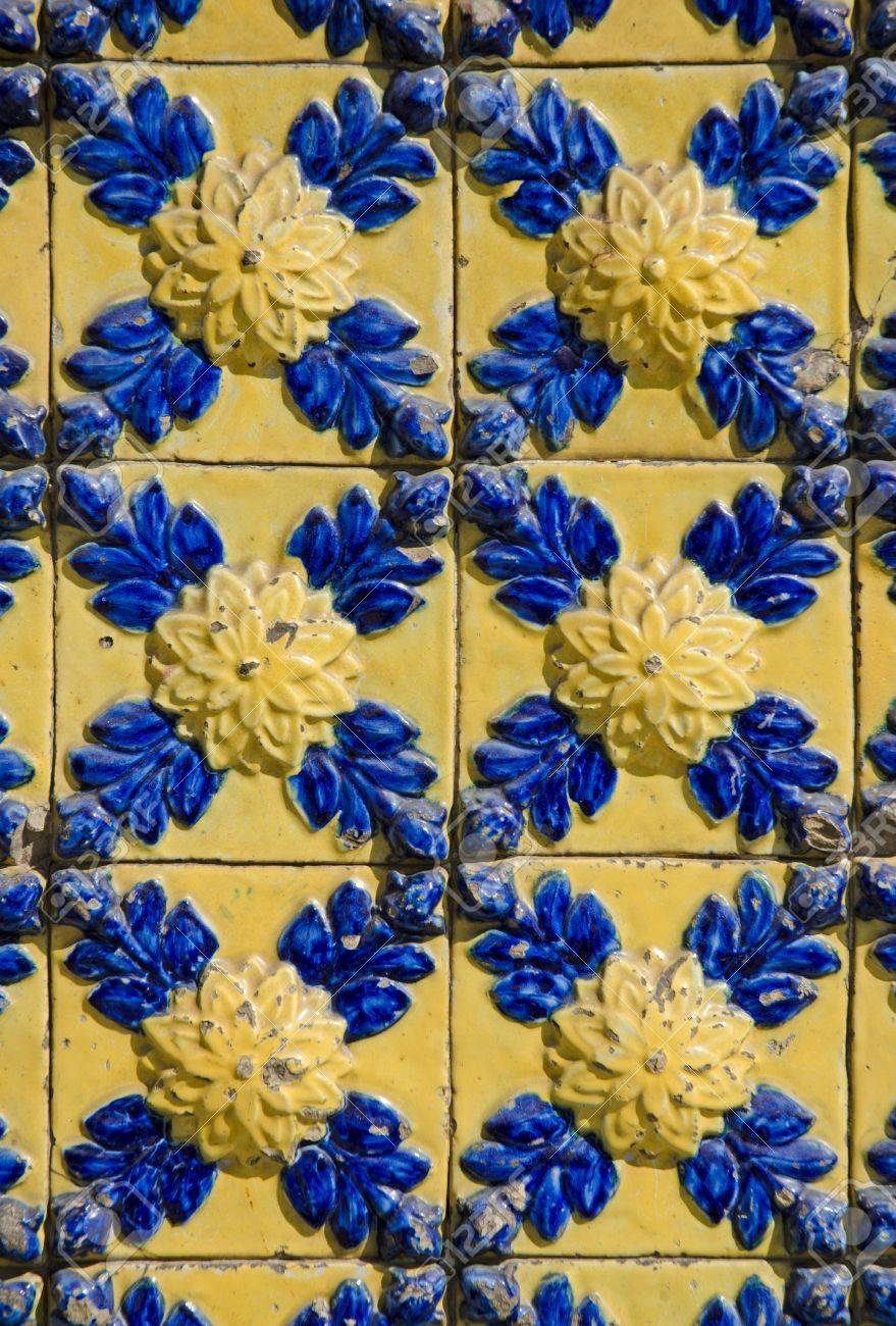 Colorful Vintage Spanish Style Ceramic Tiles Wall Decoration. Stock ...