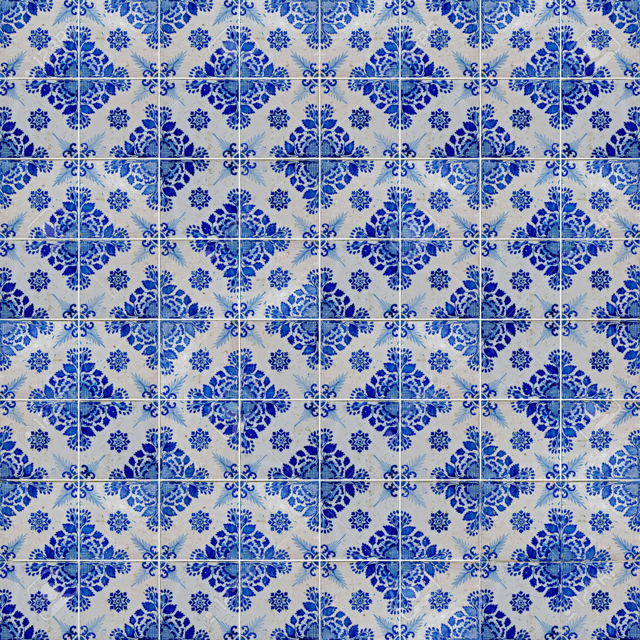 Seamless Tile Pattern Of Ancient Ceramic Tiles. Stock Photo, Picture ...