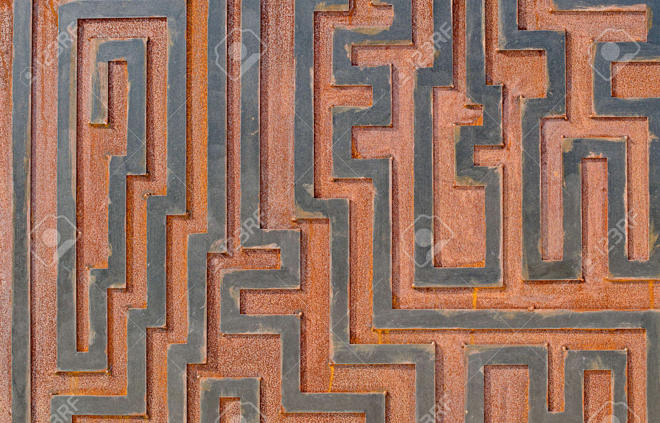 Metal rusty background, with geometrical shapes forming a labyrinth. Stock Photo - 10960067