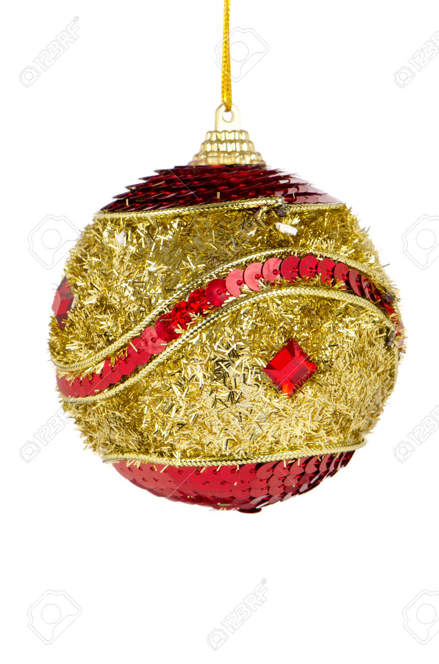 Big golden red Christmas ball decoration isolated on white background. Stock Photo - 11159455