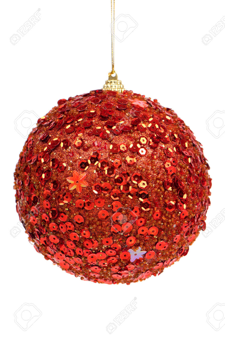 Big red Christmas ball decoration isolated on white background. Stock Photo - 11599000