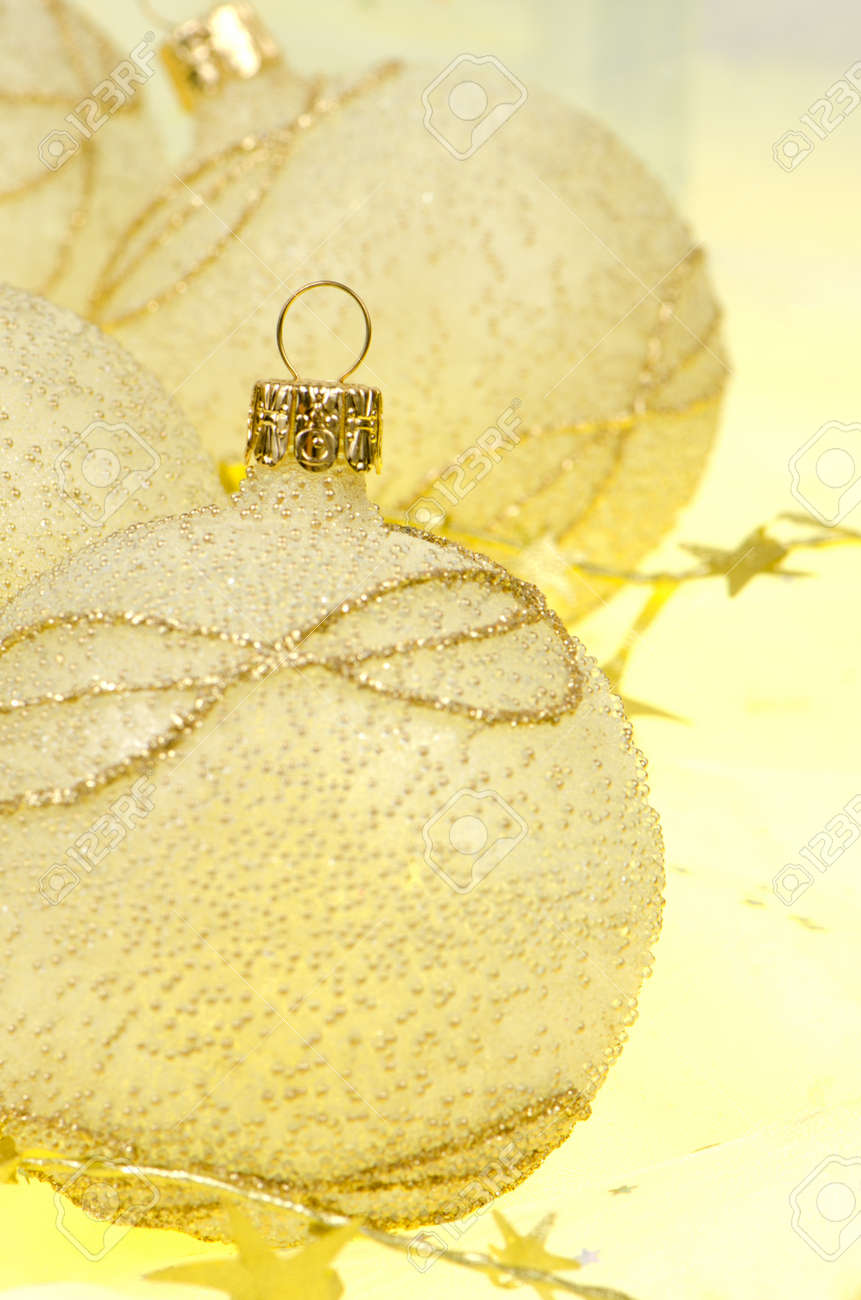 Christmas ball baubles with silver and gold decoration. Stock Photo - 11598999