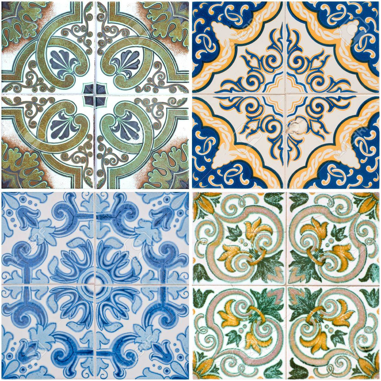 Colorful Vintage Ceramic Tiles Wall Decoration Stock Photo, Picture ...