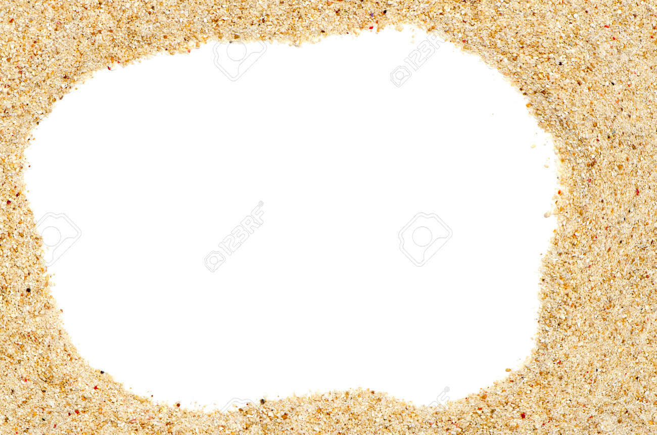 beach sand frame with copy space on center stock photo 14263184