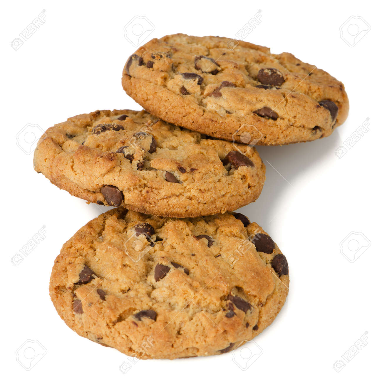 Chocolate chip cookies isolated on white background. Stock Photo - 14507816