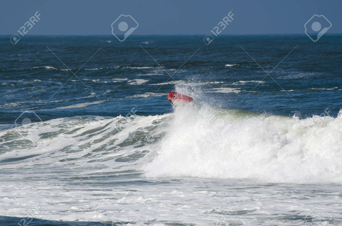 OVAR, PORTUGAL - AUGUST 17: Unidentified surfer at 1st Stage of the National Open Bodyboard Championship on august 17, 2012 in Ovar, Portugal. Stock Photo - 14818411