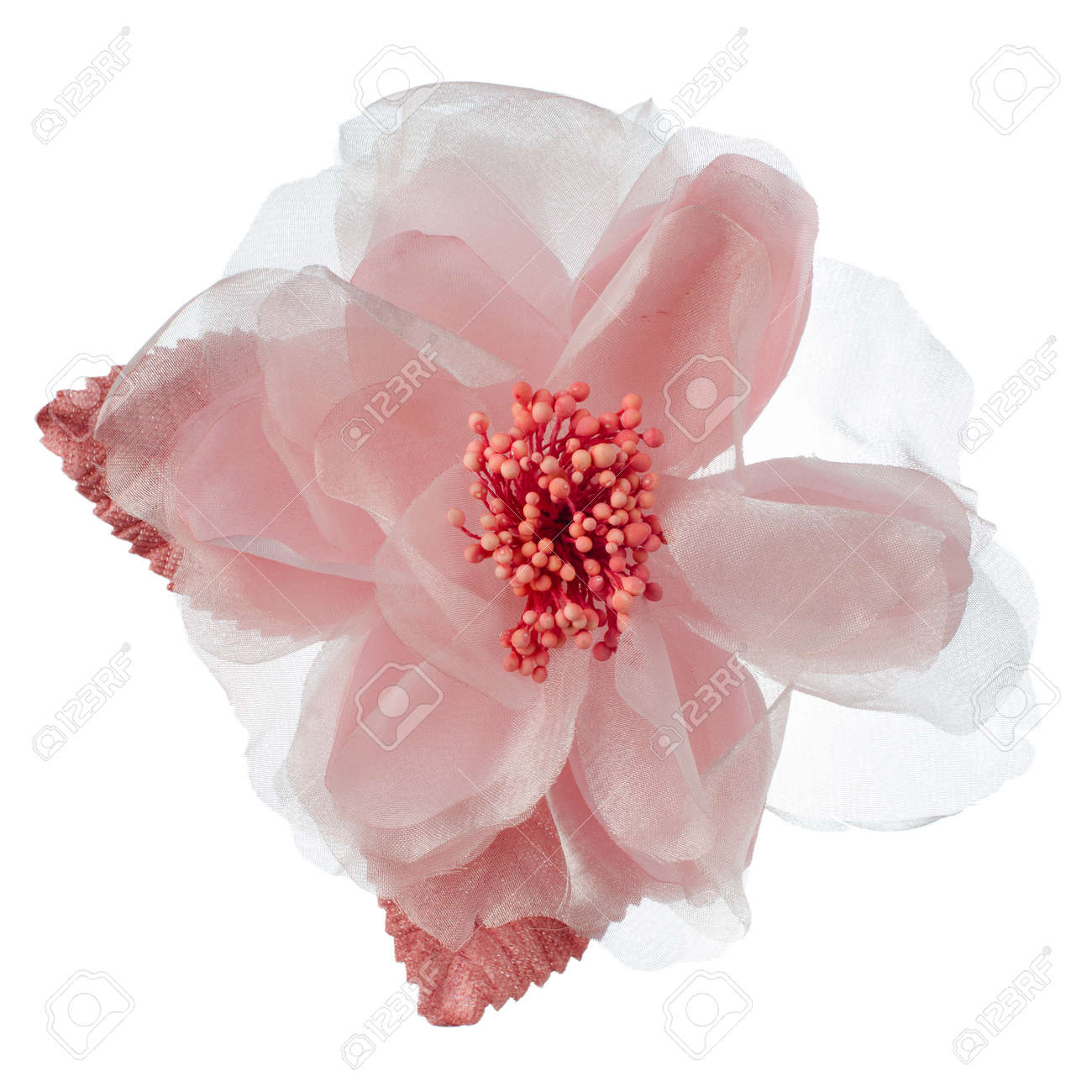 Pink Fabric Flower Isolated On A White Background Stock Photo