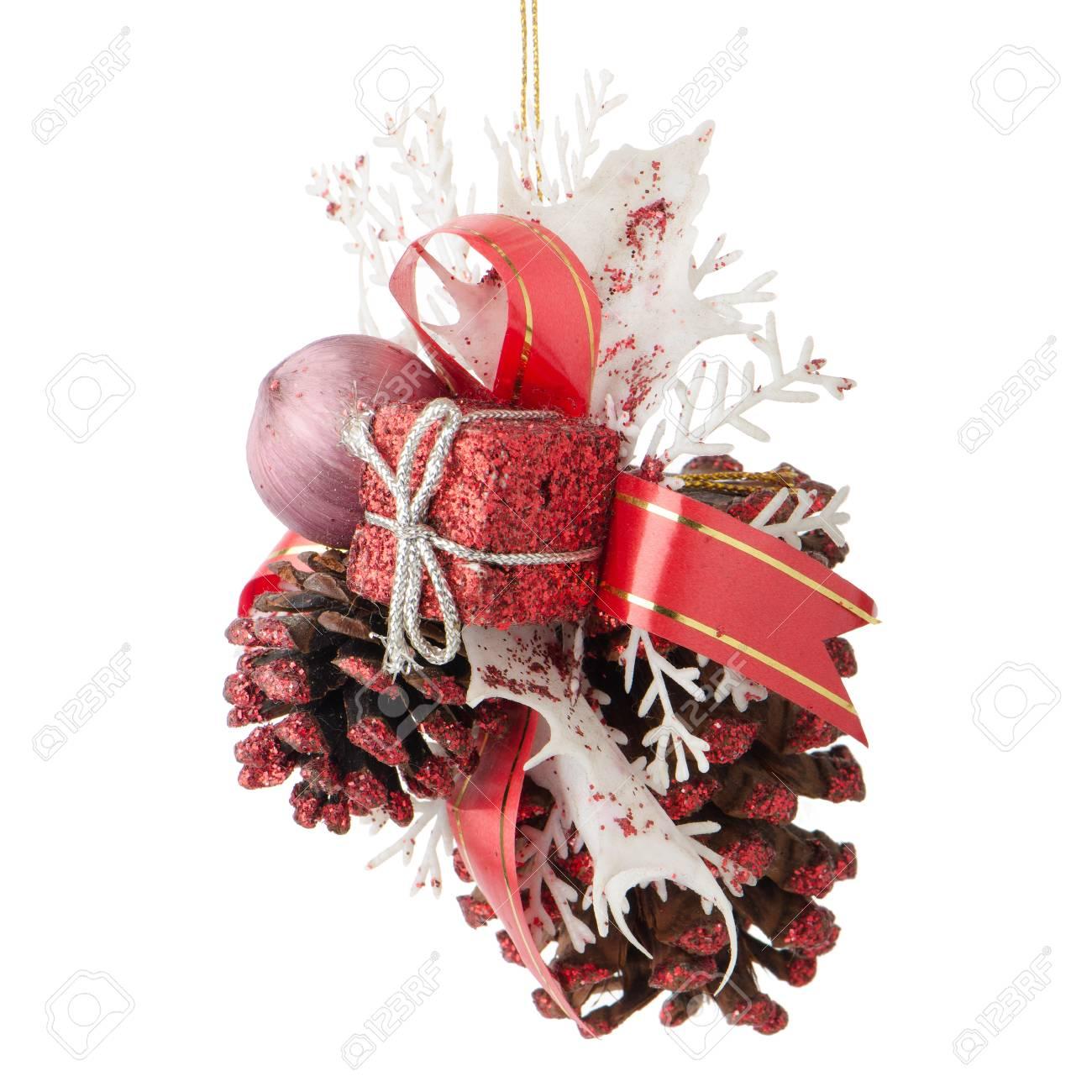 Christmas decorations on white reflective background. Stock Photo - 16206491