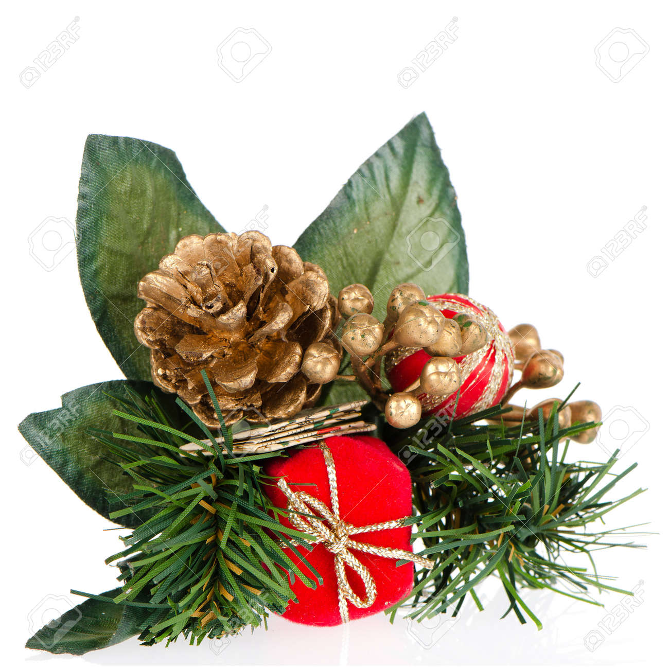 Christmas decorations on white reflective background. - 16206546