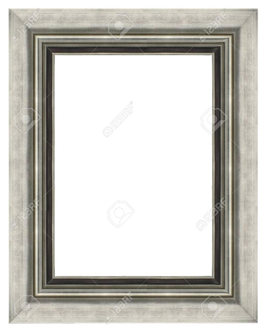 Stylish Silver Frame isolated on white background. - 17981700
