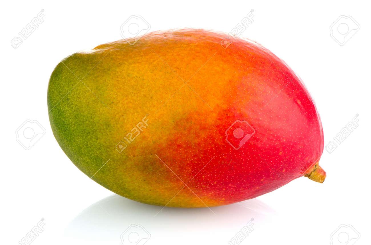 Mango fruit on white reflective background. - 19362709