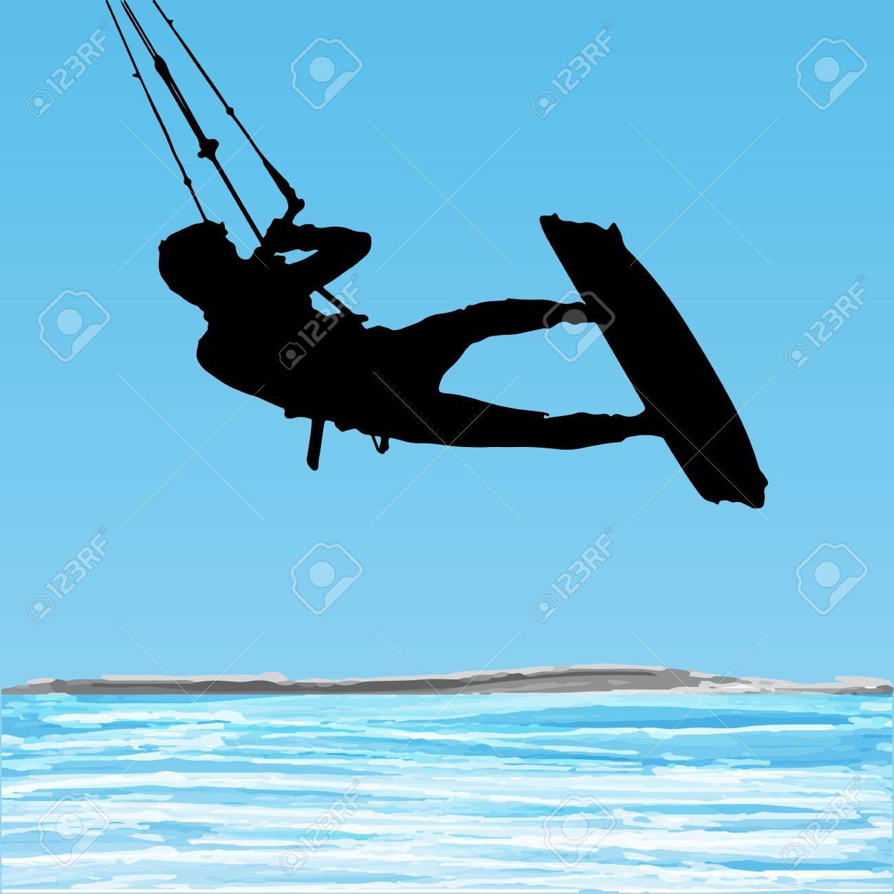 Kiteboarder aerial jump silhouette on a water and blue sky background. - 20209031
