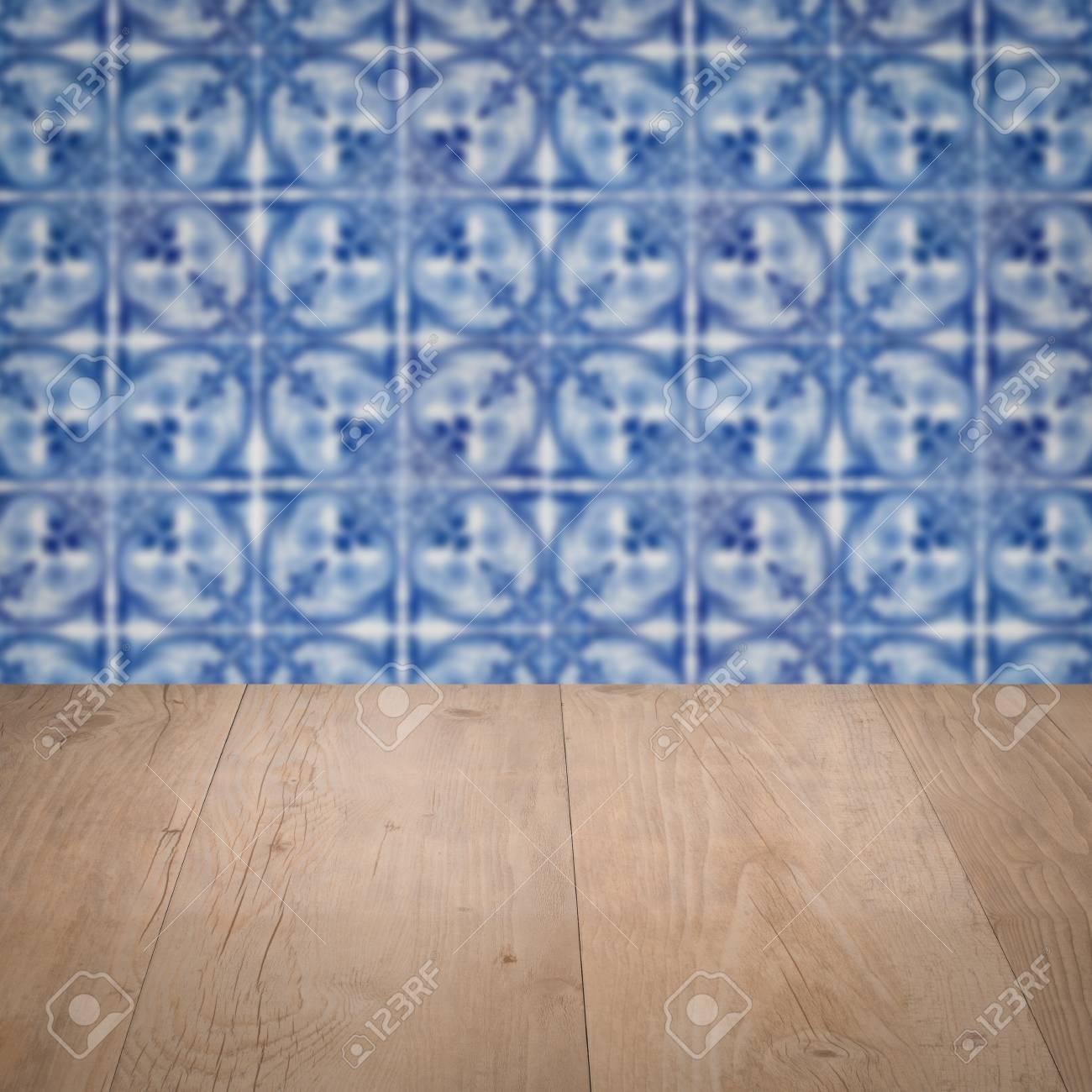 Verschiedene Muster Wand Referenz Von Leere Holztischplatte Und Unschärfe Vintage Keramische Fliesen