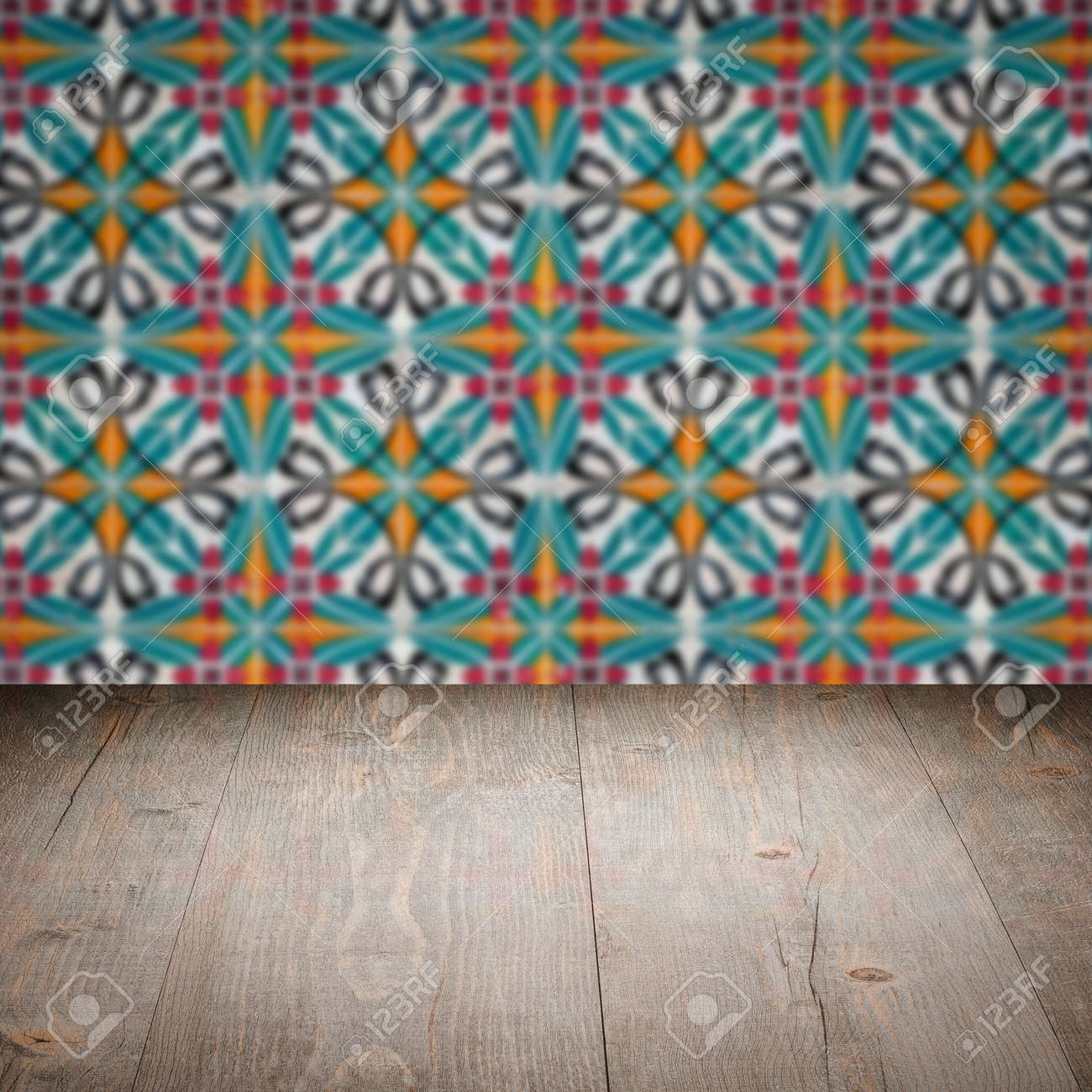 Empty Wood Table Top And Blur Vintage Ceramic Tile Pattern Wall ...