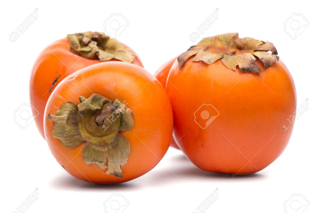 Persimmon fruits on white background. - 91259838