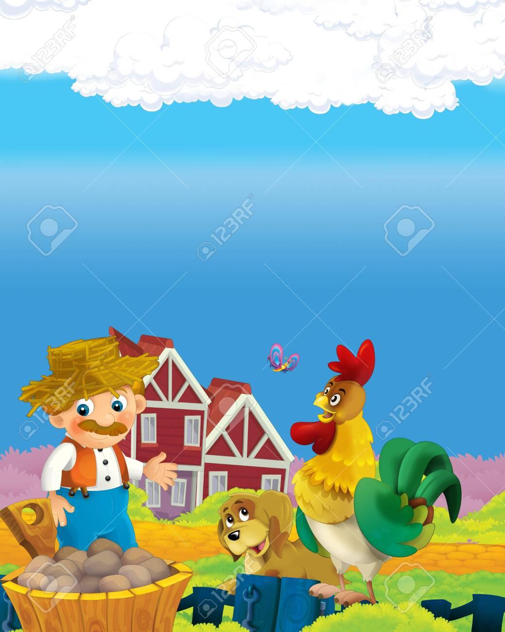 cartoon scene with happy farmer man on the farm ranch illustration for the children - 135191478