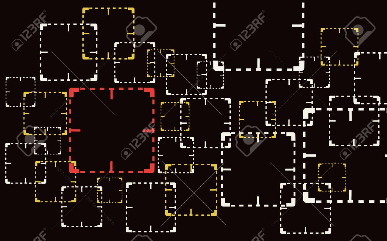 Square focused, target are being watched , for CCTV , and war games; watched sign illustration. - 87766194