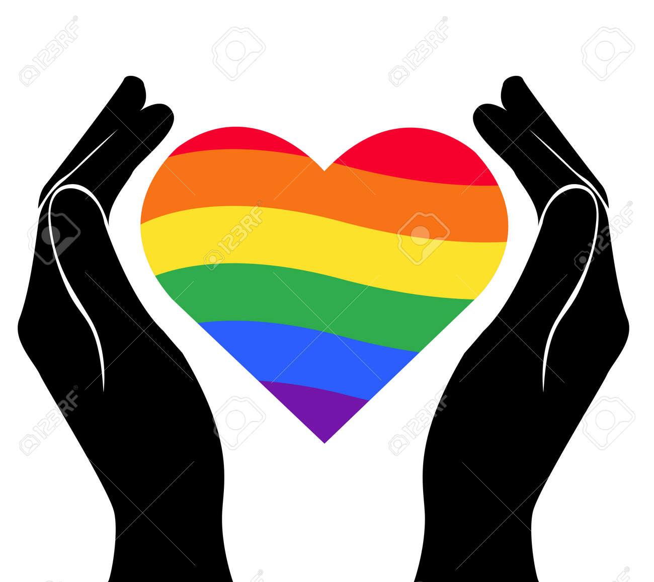 Hand Holding Heart Rainbow Flag Lgbt Symbol Vector Royalty Free