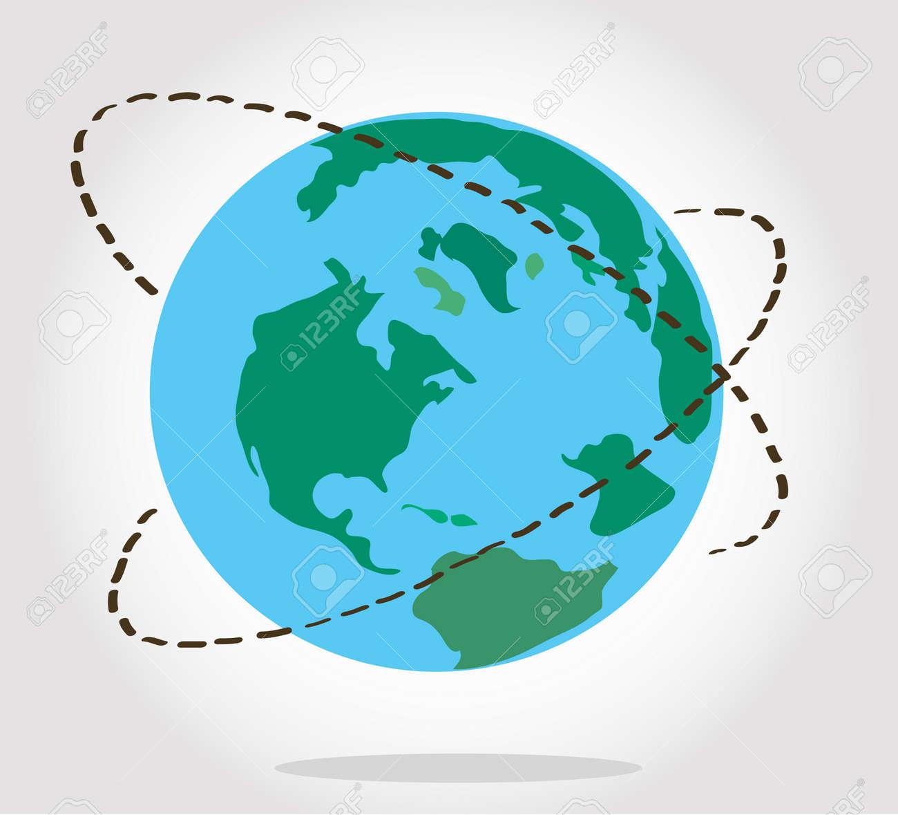 Plane Travel Around The World Symbol Vector Stock