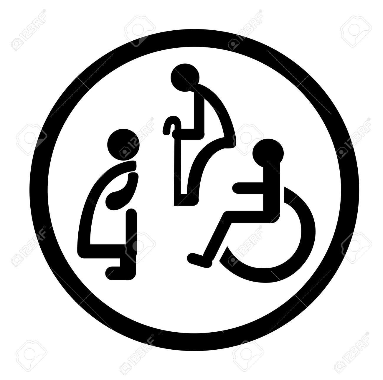 Bathroom Signs For Persons With Special Needs Stock Vector