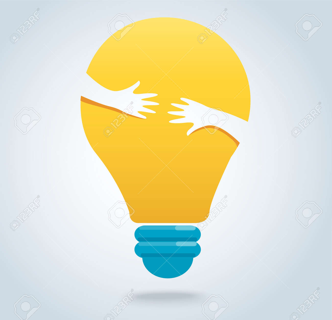 Hands hug the light bulb icon vector, creative concepts - 88090223