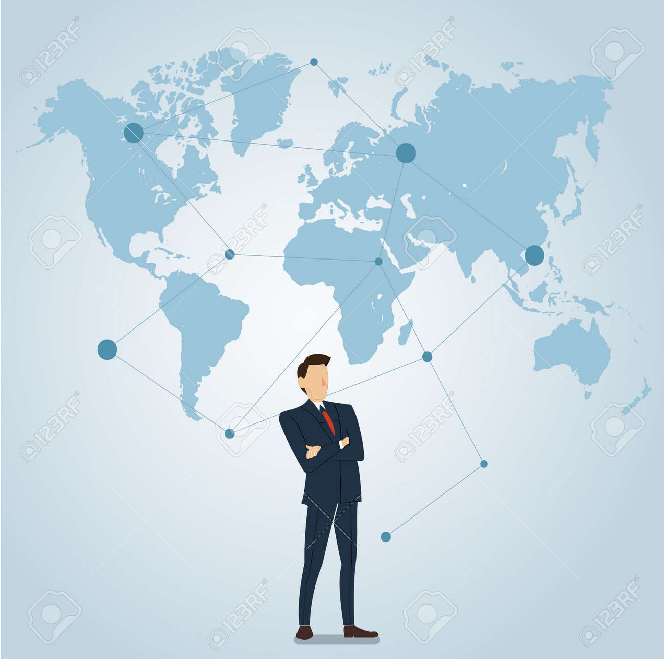 businessman with pin locations icon and map royalty free cliparts