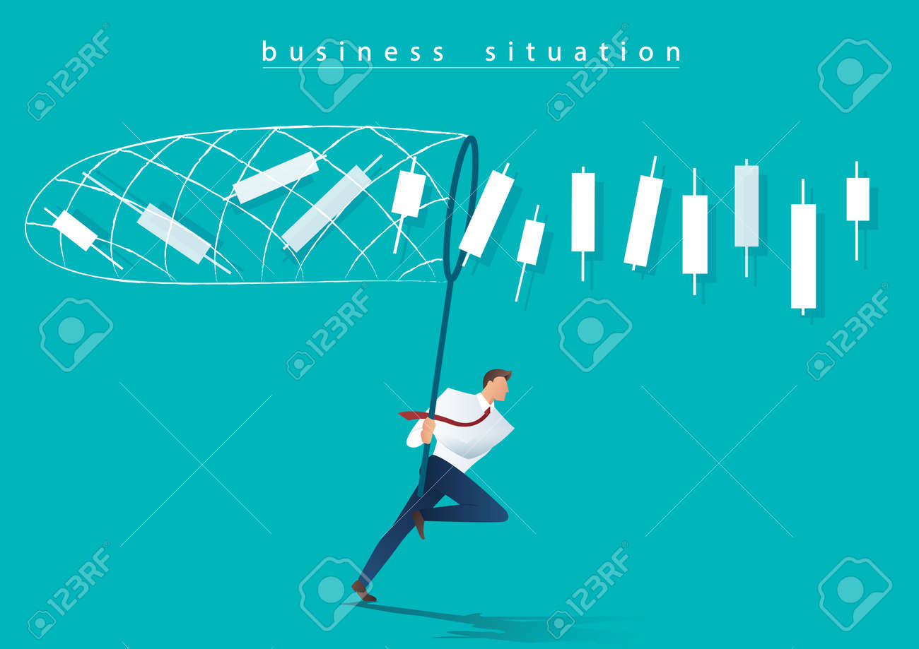 Businessman trying to catch candlesticks, chart business concept. - 95580050