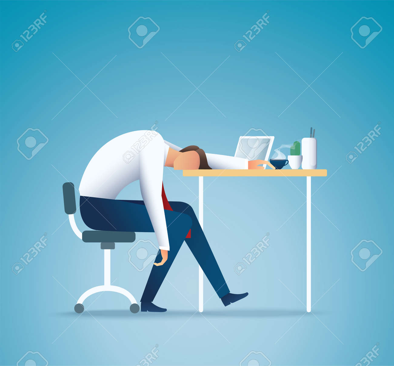 Sleeping at work. Tired business man. overworking concept vector illustration EPS10 - 131458487
