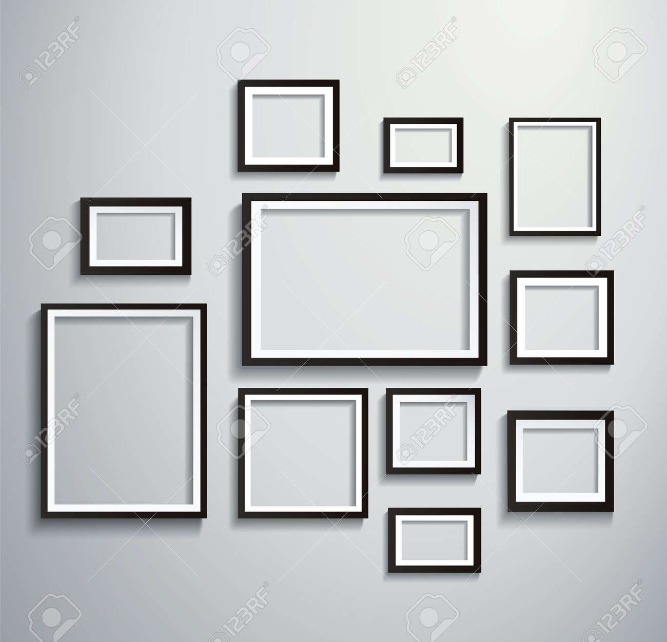 Square isolated picture frame on wall - 133558804