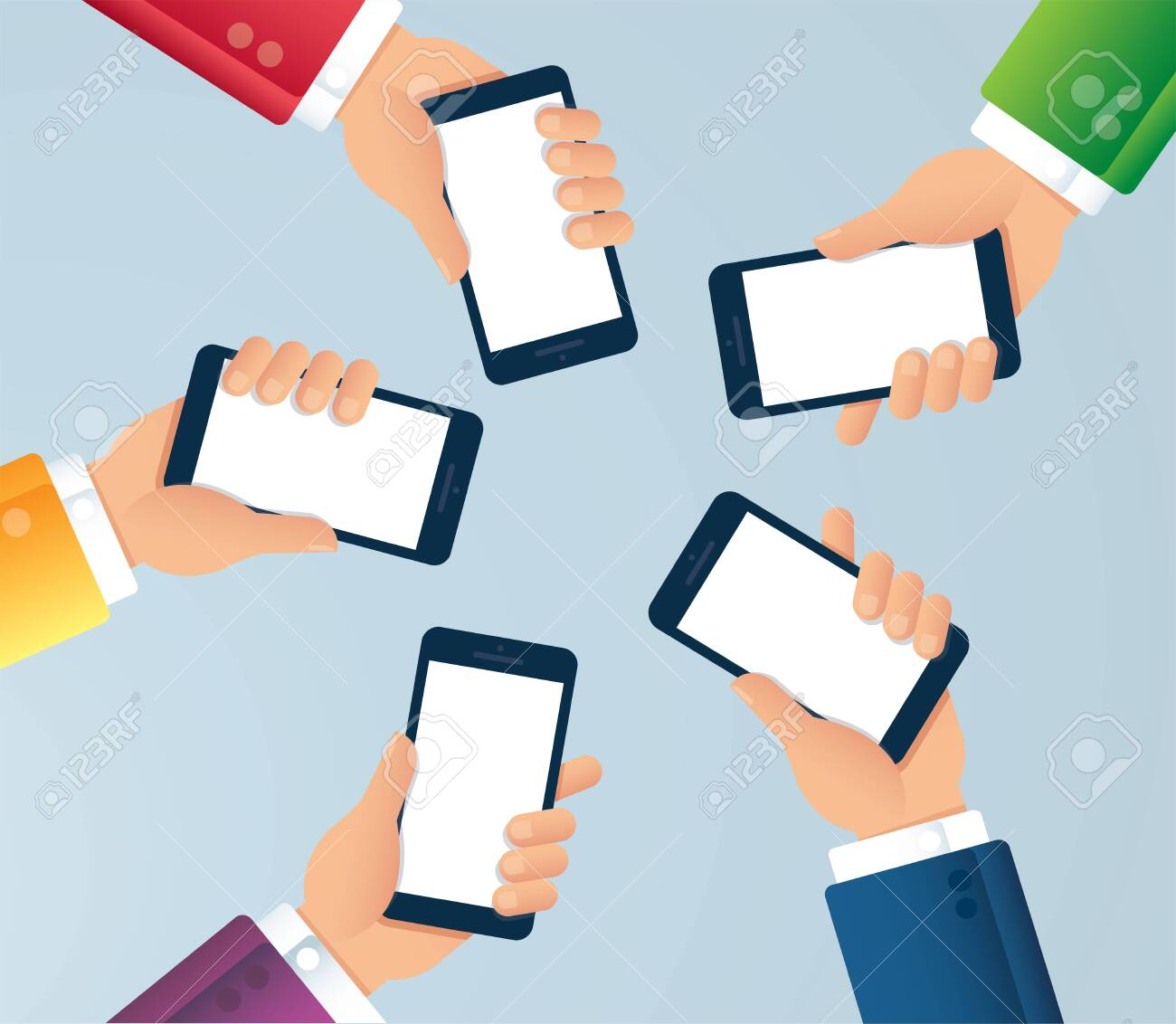 many hands holding smartphone vector illustration EPS10 - 137859587