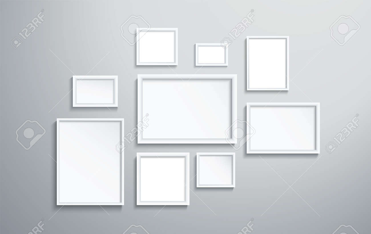 square isolated white picture frame on wall vector illustration - 138799361