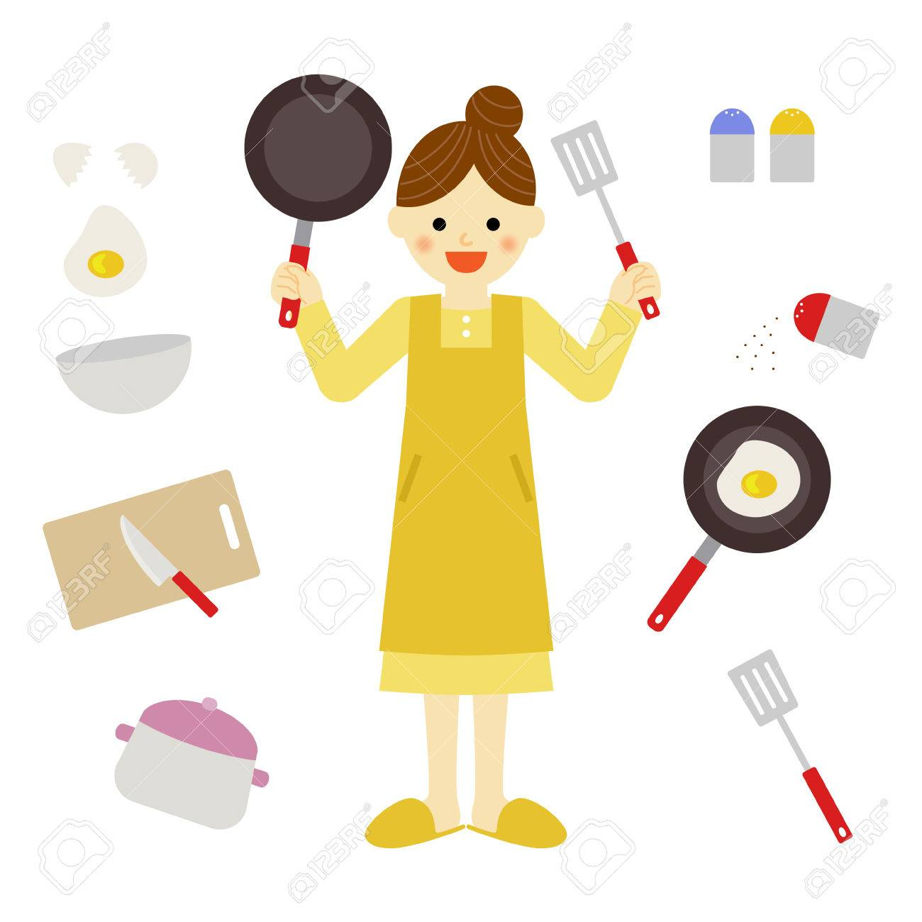 Woman And Kitchen Items Royalty Free Cliparts Vectors And Stock Illustration Image 33683770