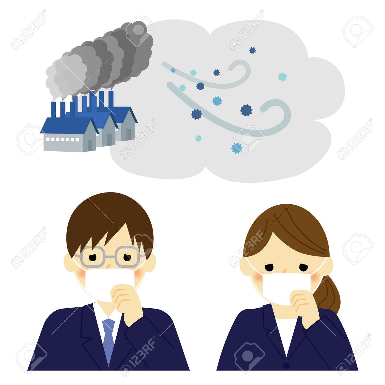 大気汚染ビジネスマンビジネスウーマンのイラスト素材ベクタ