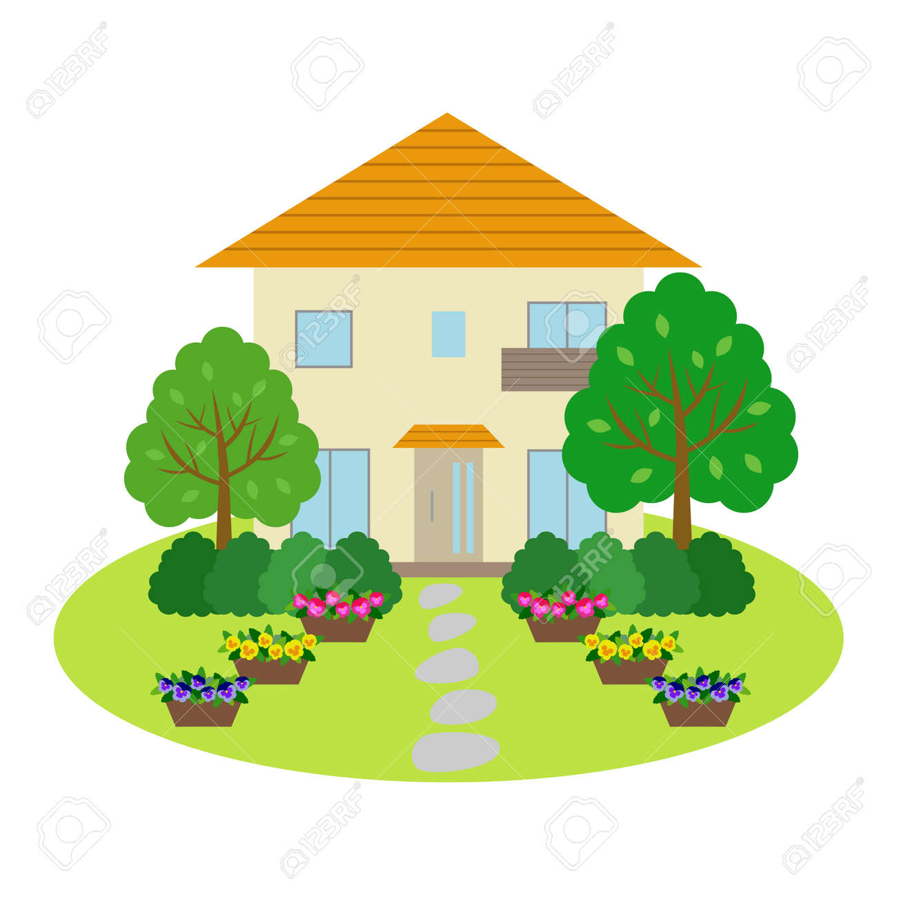 House With Front Yard Royalty Free Cliparts Vectors And Stock Illustration Image 44695869