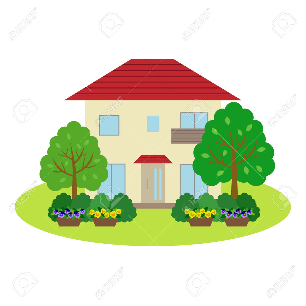 House With Front Yard Royalty Free Cliparts Vectors And Stock Illustration Image 44695872