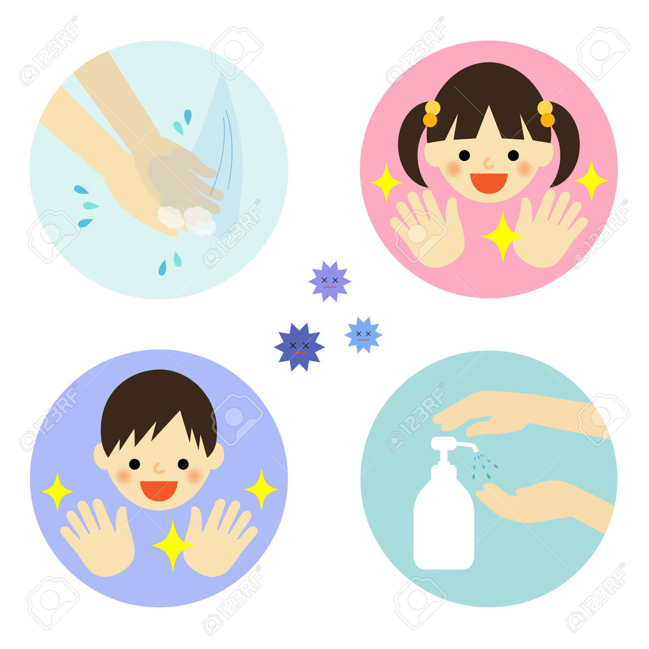 Hand washing with water and alcohol for kids - 45916976