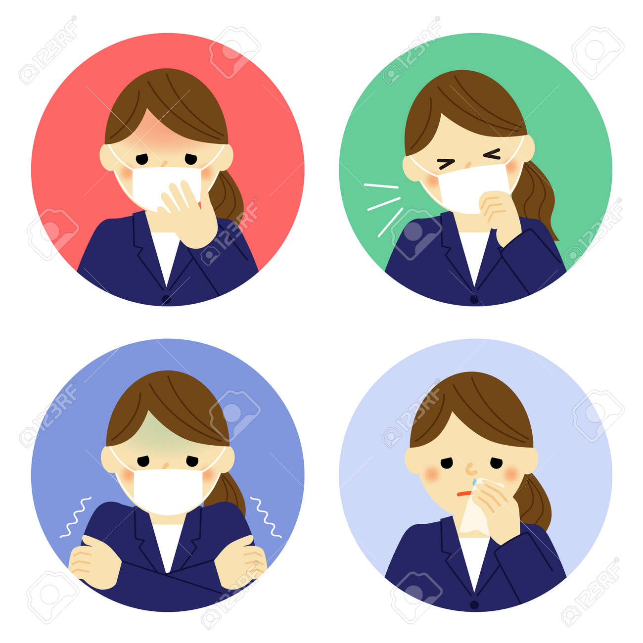 Cold symptoms of business woman - 50557773