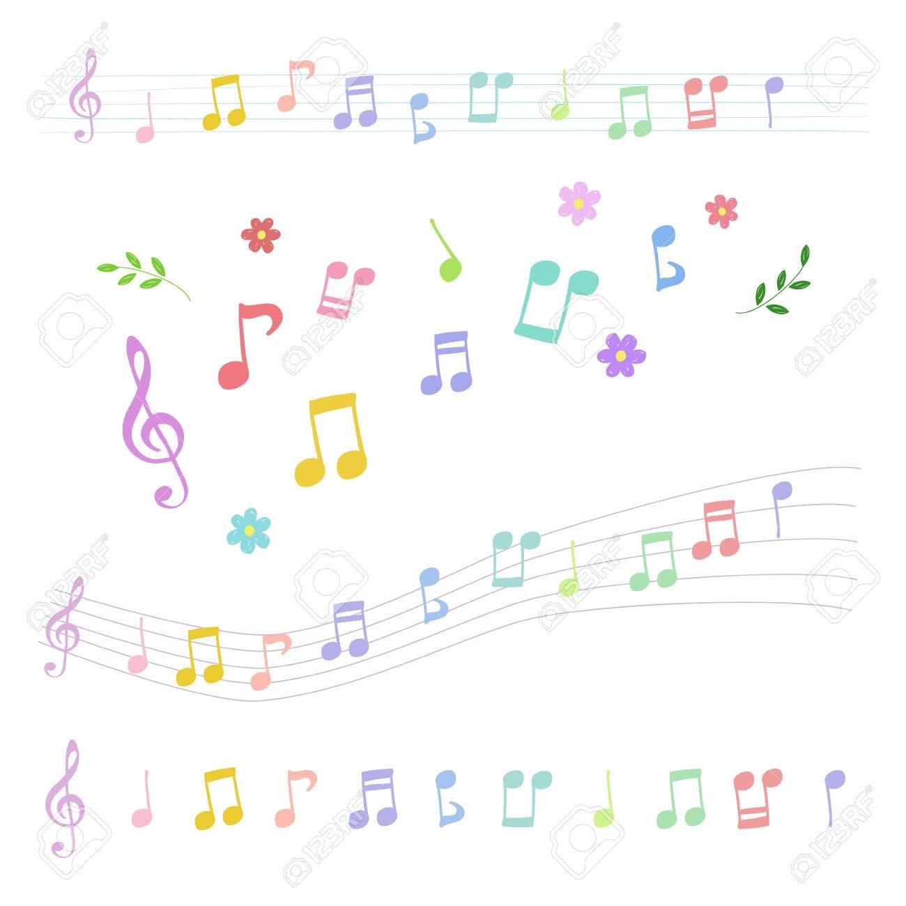 手描きスタイルのカラフルな音符のセットのイラスト素材ベクタ Image