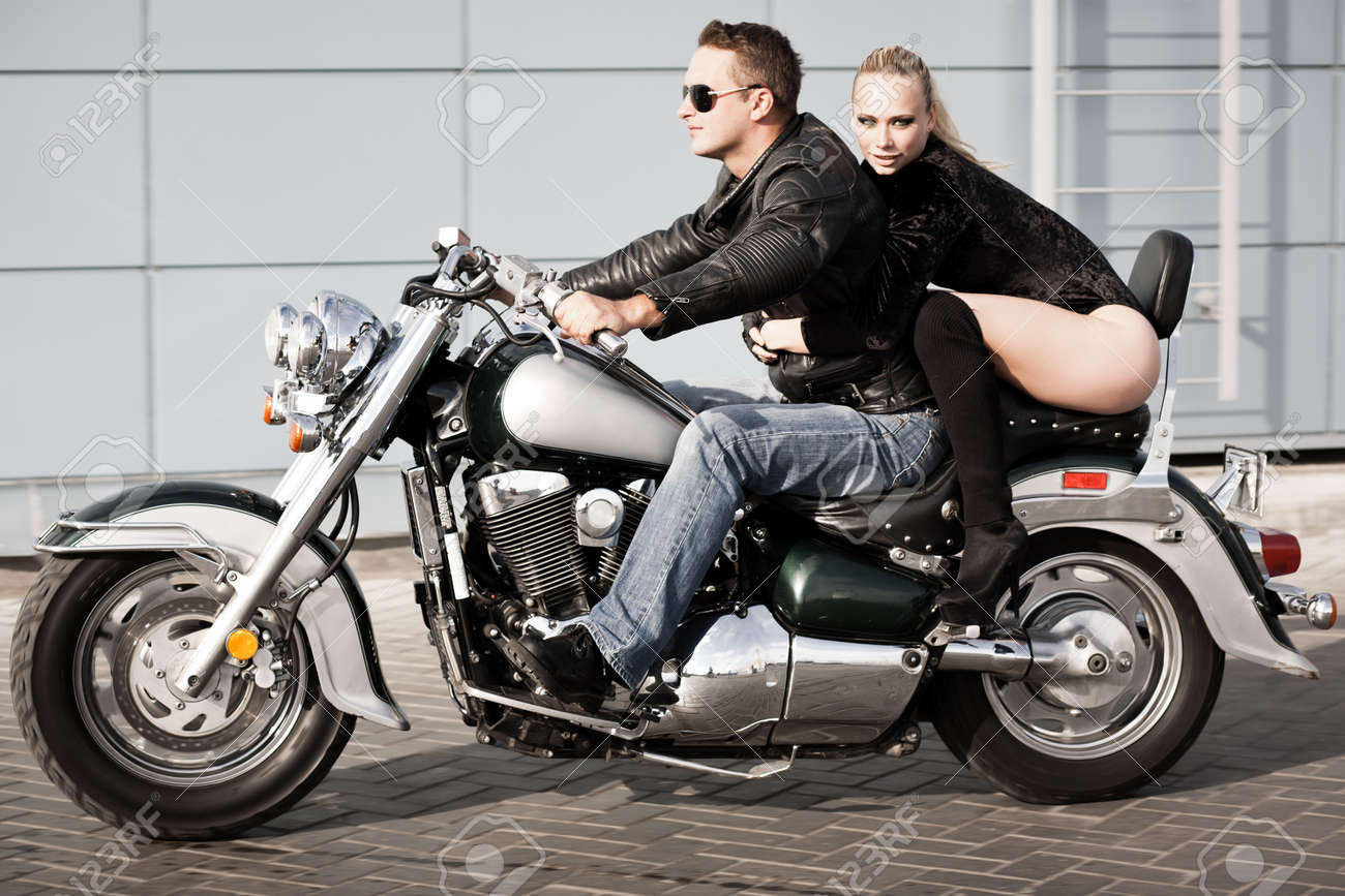 Bikers Couple Riding On Motorcycle Shot In Motion Stock Photo Picture And Royalty Free Image Image 19299071