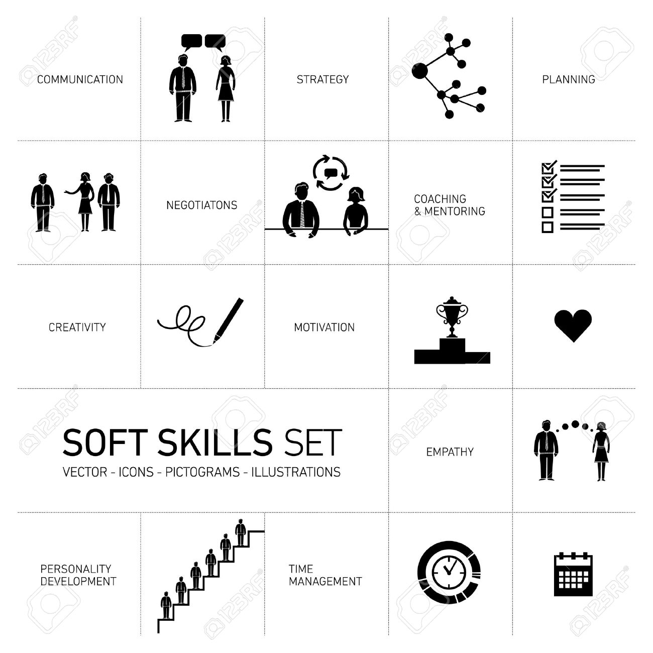 soft skills stock photos pictures royalty soft skills soft skills soft skills vector icons and pictograms set black on white background