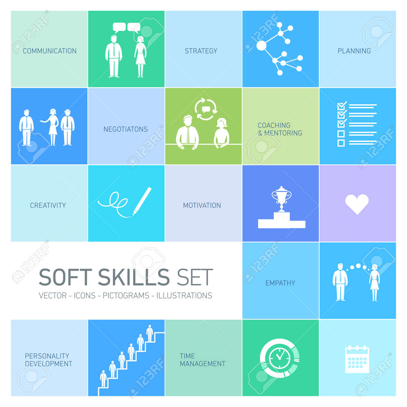 soft skills vector icons and pictograms set black on colorfulf soft skills vector icons and pictograms set black on colorfulf background stock vector 24380293