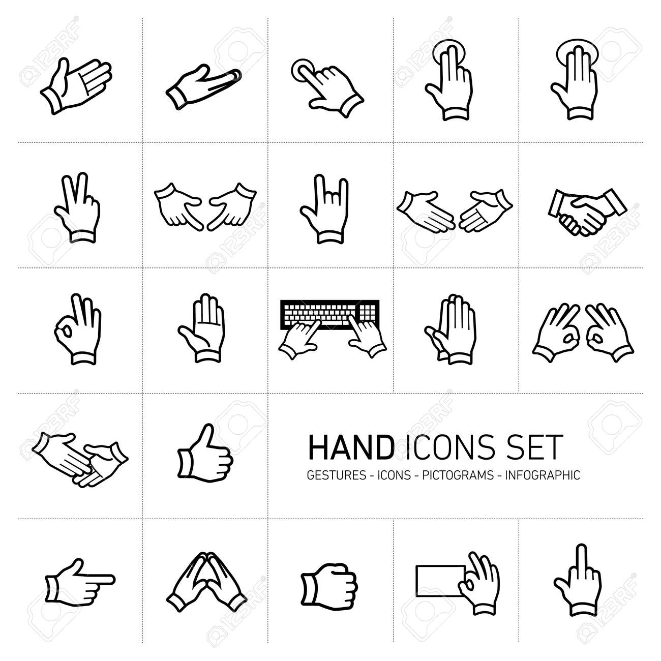 modern flat design vector hand icons and pictograms set black isolated on white background - 27595674